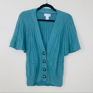 Soft Surroundings Cable Flutter Sleeve Cardigan XS